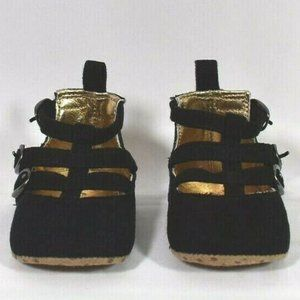 Old Navy Baby Girls 0-3 MONTH BLACK Buckle SANDALS